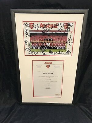 Signed Arsenal Framed Team Photo Season 2007/2008 with Letter/Certificate 3803
