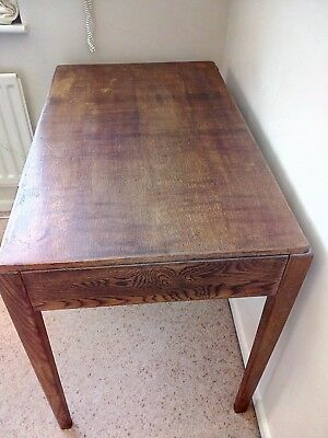 Solid oak table / desk with drawer.