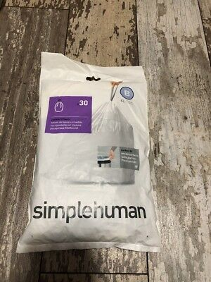 simplehuman Wastebasket Bags CW0161 Code B Custom Fit 6L Trash Can Liners 30 Ct