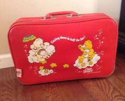 Vintage CARE BEARS Going To Grandmas Childs Red Suitcase 1983