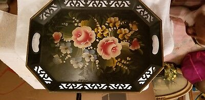 Vintage Large Hand Painted Floral Tole Black Metal Tray