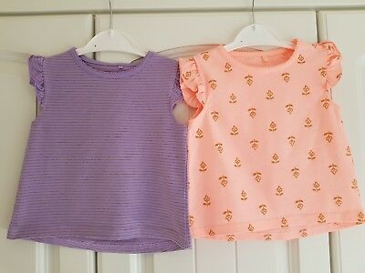 GEORGE Baby Girls 12-18 Months Short Sleeved Summer Tops (A160)