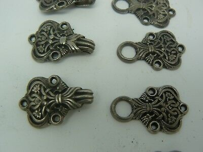 4 Sets x Vintage Norway Signed TINN PER Ornate Pewter Necklace Clothing Clasp