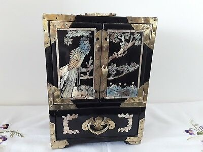 Vintage Jewellery Box Oriental Black Laquer Inlaid Mother Of Pearl Brass Chinese