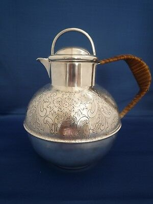 Silver Plate Jersey Style Jug with Rattan Handle - 2pt