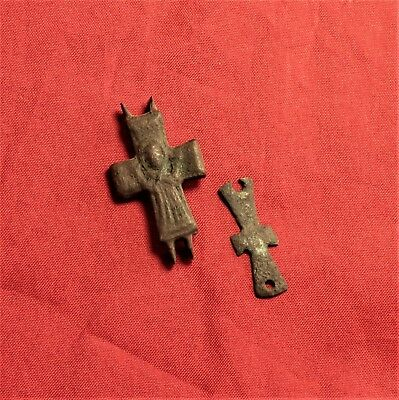 Byzantine Reliquary Cross Pendant, and Small Cross Pendant