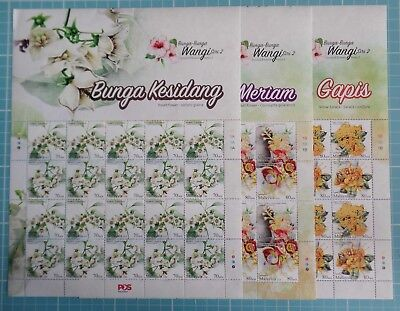 Malaysia 2016 - Scented Flowers - Series 2 - Complete Sheets SG 2132/37