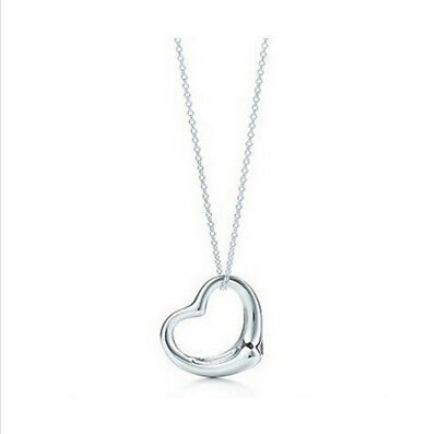 Sterling Silver Plated Heart Pendant Necklace Love Charm With Chain New