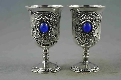 Collectable Handwork Miao Silver Carve Flower Inlay Agate Exorcism Rare Wine Cup