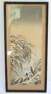 Winter Snow Bird Japanese Vintage Signed Watercolour Framed 20s / 30s
