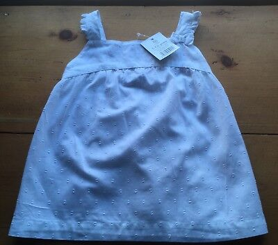 BABY GIRL VINTAGE STYLE WHITE COTTON BRODERIE ANGLAISE TOP 12-18 Months, BNWT