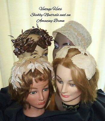 Lot Vintage Ladies Hats 40's 50's BUCKET HALF HAT VELVET MILLINERY Nueutrals
