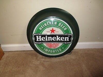 Heineken Beer Round Electric Lighted Sign Wall Mount Hang Bar Decor Mancave