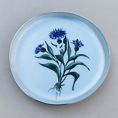 Lovely Solid Silver Danish Enamel Floral Dish, London Import 1957