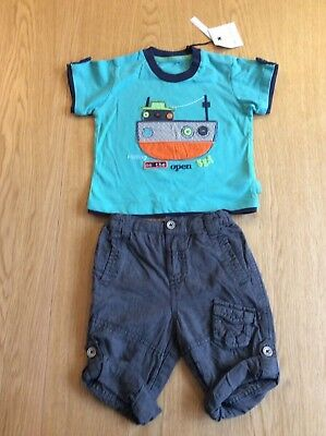 New With Tags M&S Autograph Boys T-Shirt And Short/Trouser Set Age 6-9 Months