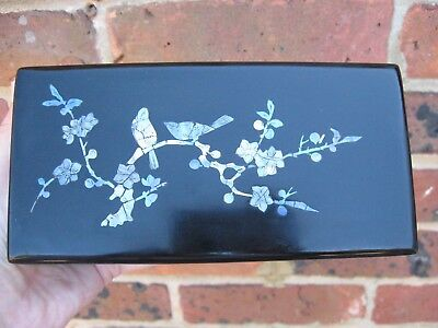 Vintage Antique Japanese lacquer box birds & cheery blossoms Mother of Pearl