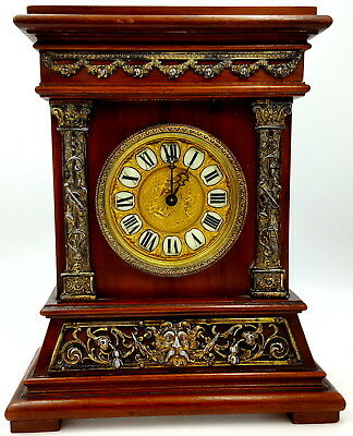 British United Clock Birmingham 1892 Mantel 8 days Mahogany case clock