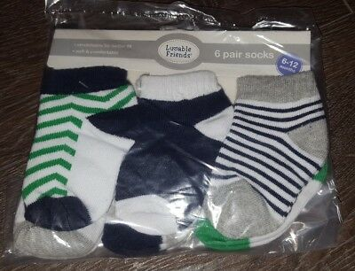 Luvable Friends - Baby Socks 6 Pair Pack (For 6-12 Months) Unisex