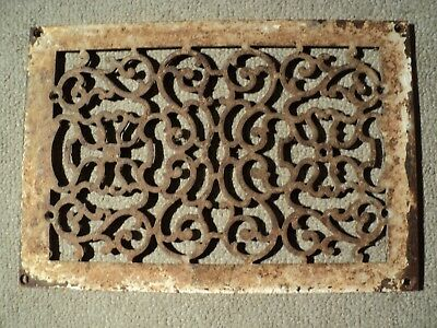 "Antique Cast Iron Heat Grate Floor Vent Register Decorative 15-3/4"" x 11"""