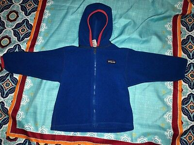 Patagonia Blue Hooded Full Zip Up Fleece Jacket Coat Baby Infant Size 2T