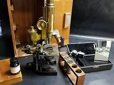 pat. date  1897 Bausch and Lomb microscope & accessories