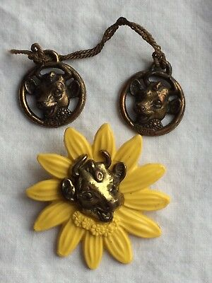 Vintage 50s Borden Elsie the Cow Daisy Advertising Pin and 2 Elsie Charms