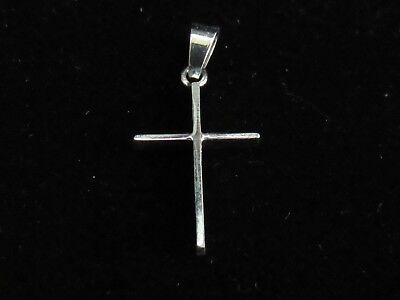 NEW Solid 14 kt WHITE Gold Cross Pendant  .67 GRAM #10692