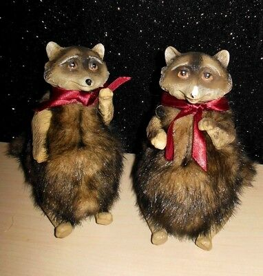 """Pair of Katherine's Collection Woodland raccoons doll Furry figures 6"""""""