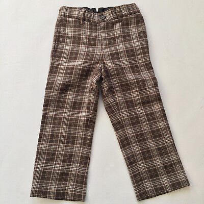 Janie and Jack Brown & Blue Plaid Wool blend Flat Front Dress Pants Boys size 3