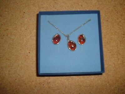 Sterling silver Amber necklace and earring set