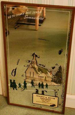 Vintage 1920s FUNERAL HOME 'GO TO CHURCH' 3-D Advert Silhouette MIRROR Newton