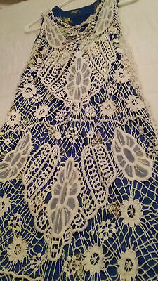 Ivory Crochet Sheer Lace Long Duster Vest Boho - Good Used Condition - One Size
