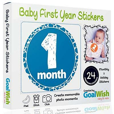 Baby Monthly Stickers - Pack of Premium 24 Unisex First Year Stickers for Boys a