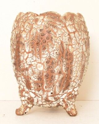 Cracked Egg Pottery Pedestal Vase Textured Geode Crackle Ugly VTG Mid Century