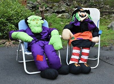 Halloween Life-size Frankenstein and Witch Plush Dolls by Lillian Vernon EUC