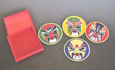 Magnetic Chinese Opera Masks Boxed Set of 4 Embroidered Cloth Patches