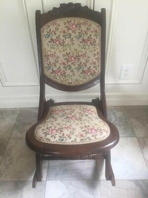 Wooden Folding Antique Victorian Rocking Chair with Beautiful Tapestry