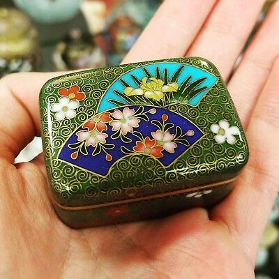 Vintage Beautiful Green Japanese Cloisonne Box with Different Floral Design