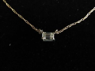 .19 Carat Solitaire EMERALD CUT WHITE Diamond Pend VS I 14K YELLOW Gold 18IN DP6