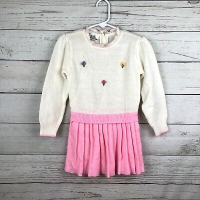 VTG Toddler Girl Sz 4T Acrylic Pink Sweater Dress Long Sleeve Flower Embroidery