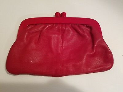 Vintage Red Leather Eaton's Clutch Purse Made in Italy New Old Stock ~ Pretty