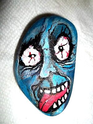 MONSTER!  HAND PAINTED COLORFUL ROCK....crazy face stone art...Gail Grant