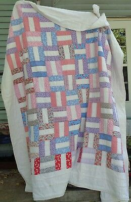 Vintage Large Feed Sack Quilt Hand Sewn Pastels Restore Study Farmhouse Find