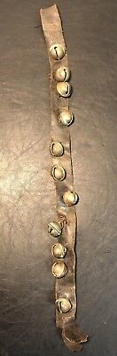 Old Antique 19th C Brass Horse Sleigh Bells On A Leather Strap