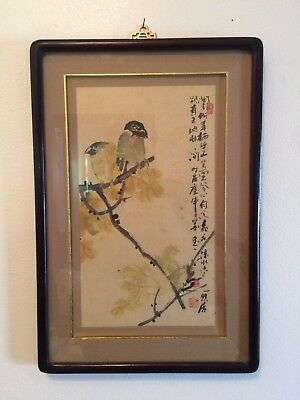 Chinese Vintage Framed Watercolor Color & Ink Painting Signed
