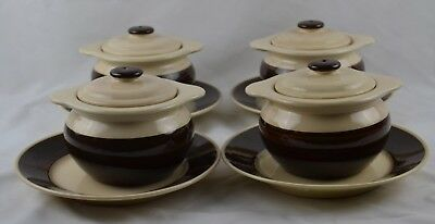 Set 4 HB Quimper Vintage Covered French Onion Dark Brown Bowls Underplates Rare