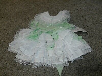 Vintage Lid'l Dollys Frilly Ruffled Girl Layered Dress Size 1T Green Nwt 1995