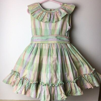 Vintage Toddler Girl Dress Plaid Twirl Ruffles