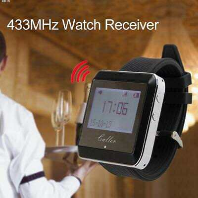 433MHz Wireless Calling System Receiver Watch Wristband Vibration Buzzer Calling