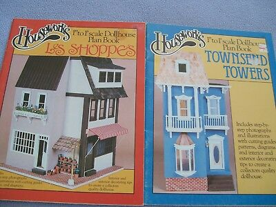 "Lot Of 2 Houseworks 1"" To 1' Scale Dollhouse Plan Books..les Shoppe's.towers"